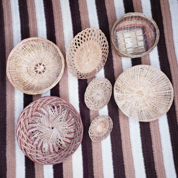Wicker Basket Vintage Woven Wall Decor Set of 7